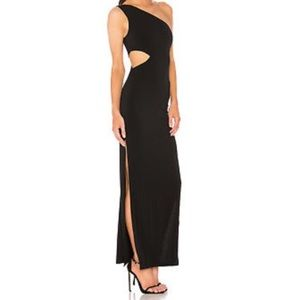 Alice + Olivia black Malia one shoulder gown
